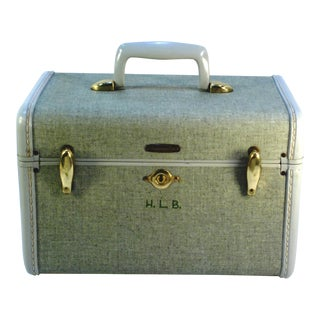 1970s Samsonite 5412 Train Suitcase, Grey Tweed