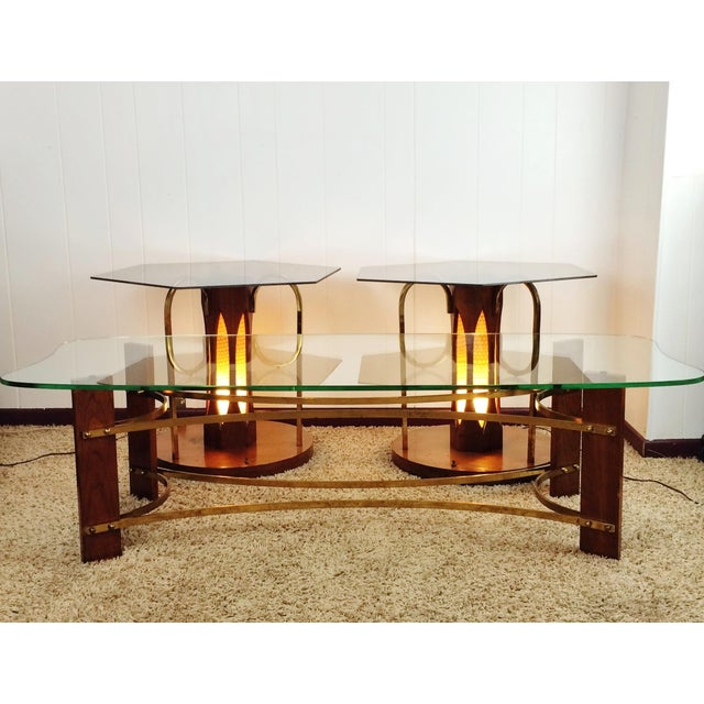 Led Coffee Table Set: Mid-Century Wood And Glass Coffee & Lighted Side Table 3