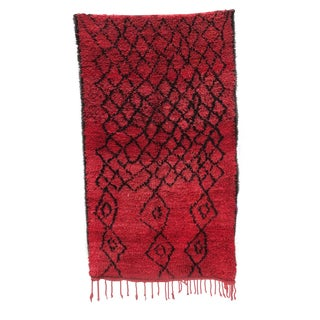 "Red Azilal Moroccan Runner Rug - 4' 3"" x 7' 9"""