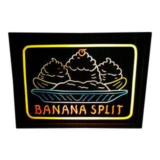 Vintage Banana Split Ice Cream Parlor Lighted Kitchen Diner Sign