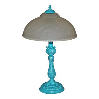 Painted Table Lamp With Frosted Glass Shade