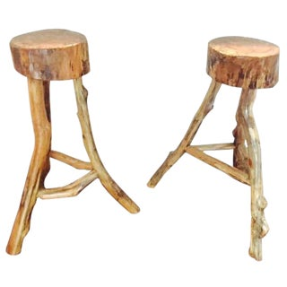 Natural Maple Wood Barstools - A Pair