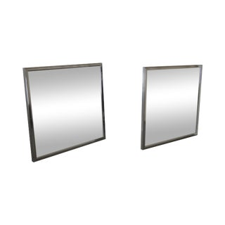 Vanguard Mid-Century Square Chrome Wall Mirrors - A Pair