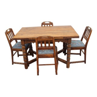 Mid-Century Rustic Solid Wood Table & 4 Chairs - Dining Set