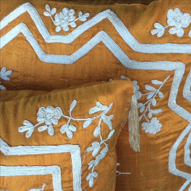Embroidered Silk Accent Pillow Covers - A Pair - Image 3 of 4