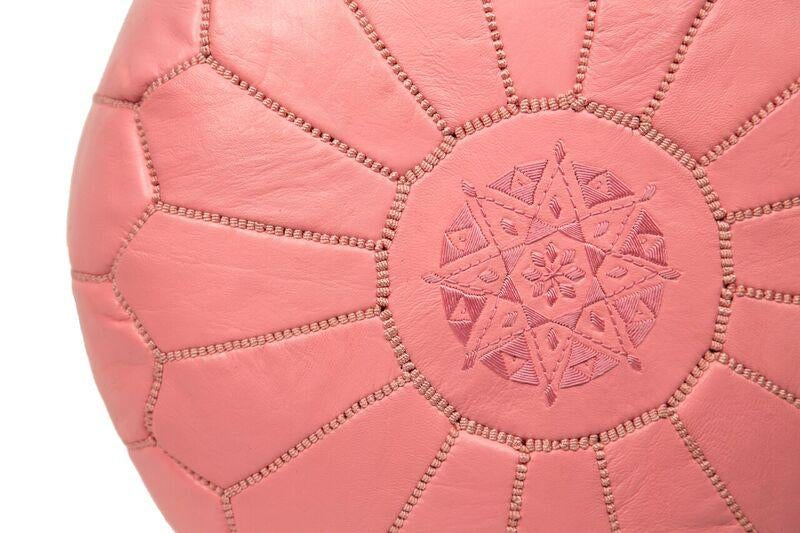 Embroidered Leather Pouf In Pink Stuffed Chairish