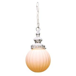 Antiqued White Globe Pendant