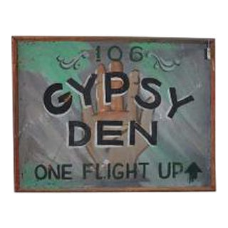 1970s Vintage Gypsy Den Fortune Teller Sign
