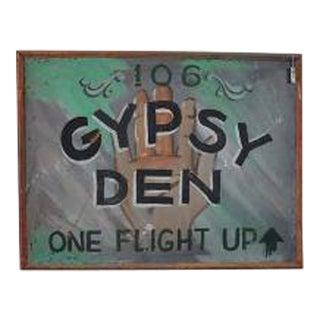 1970s Vintage Gypsy Den Fortune Teller Sign