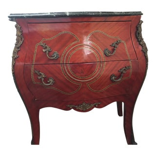 Louis XV Style Marble Top Bombe Commode or Nightstand