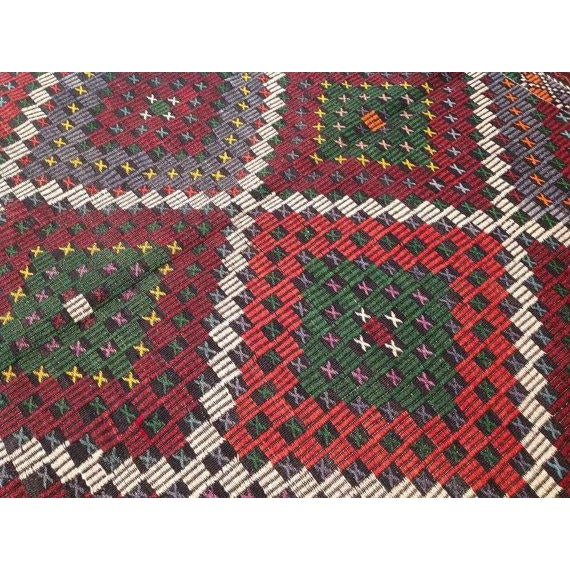 "Vintage Turkish Kilim Rug - 6'9"" X 11'4"" - Image 5 of 6"