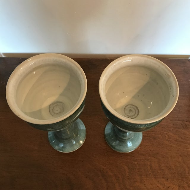 Blue & Green Ceramic Goblets - A Pair - Image 8 of 9