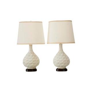 Marbro White Ceramic Seashell Motif Lamps - A Pair