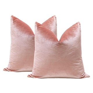 "22"" Blush Italian Silk Velvet Pillows - A Pair"