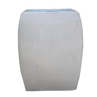Off White Square Chinese Ceramic Garden Stool