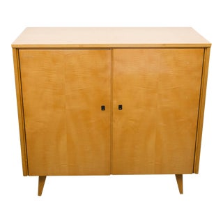 Midcentury Blonde Mahogany and Tiger Maple Cabinet