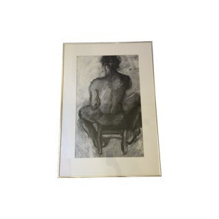 Black & White Seated Male Nude Study Drawing