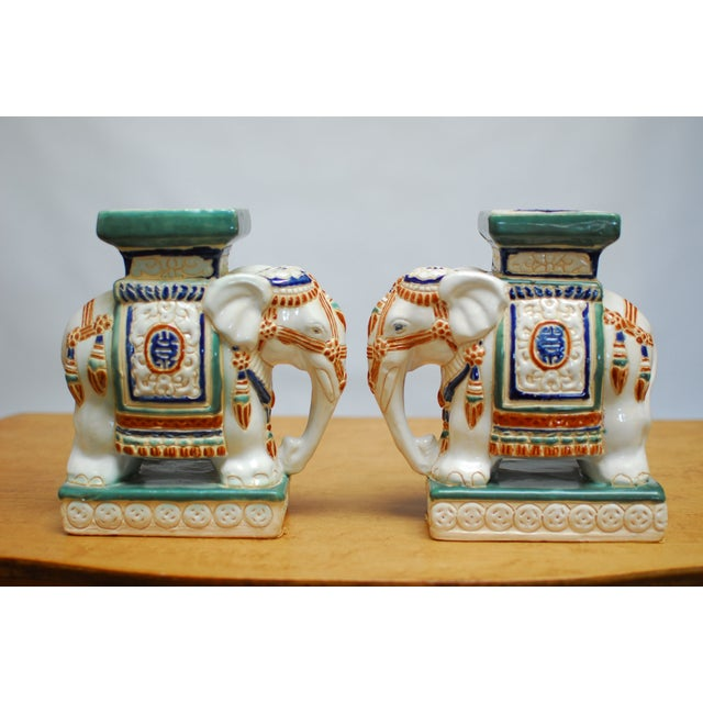 Image of Chinoiserie Ceramic Elephant Bookends - A Pair