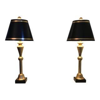 Gold & Black Florentine Style Lamps - A Pair