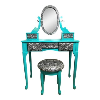 Turquoise & Lace Vanity With Stool - A Pair