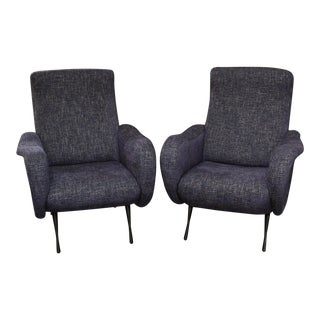 Pair of Marco Zanuso Style Armchairs