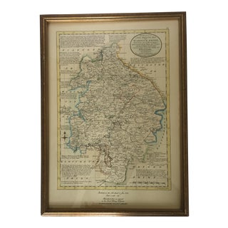 Framed Warwickshire County British Map