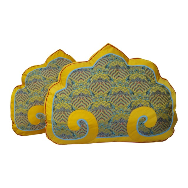 Chinese Silk Bed Pillows - Pair - Image 1 of 5