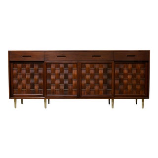 Woven Front Rosewood and Walnut Credenza by Edward Wormley