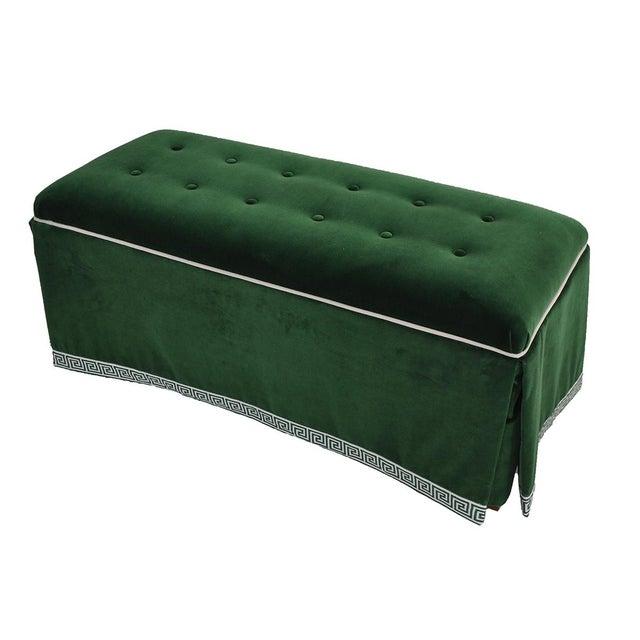 Century Emerald Velvet Tufted Bench - Image 3 of 4