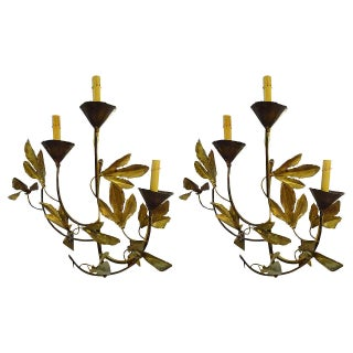 Tom Greene Leaf Motif Wall Sconces - Pair