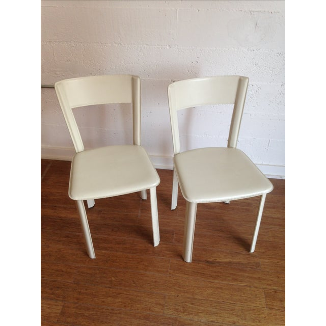 DWR White Leather Chairs - A Pair - Image 2 of 7