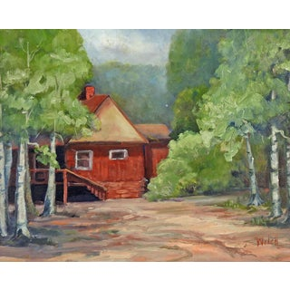Red Cabin Oil Painting