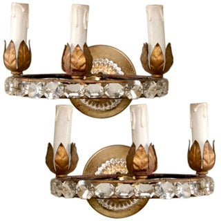 19th Century French 3 Light Crystal Bead Sconces - Pair