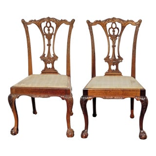 Pair of Vintage Chippendale Style Ornate Carved Wood Accent Chairs