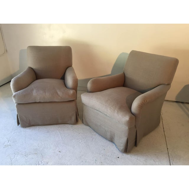 Baker Belgian Linen Club Chairs - A Pair - Image 5 of 9