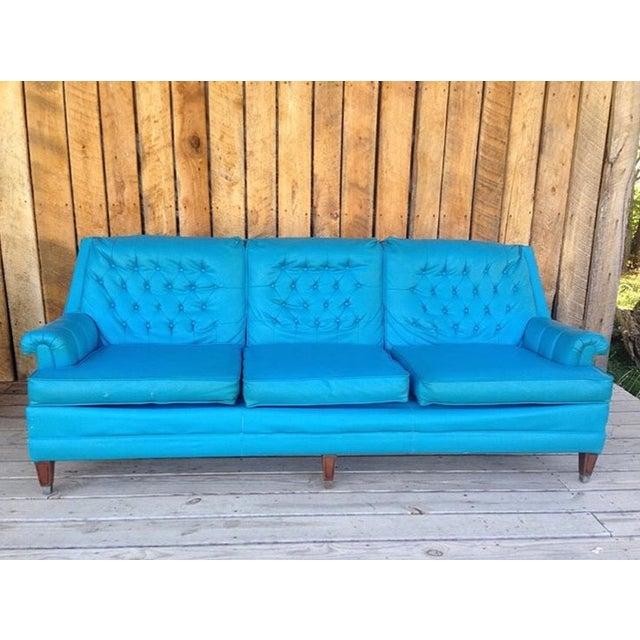 Mid-Century Modern Turquoise Sofa - Image 2 of 11