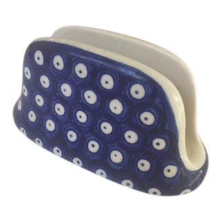 Vintage Blue & White Dot Napkin Holder