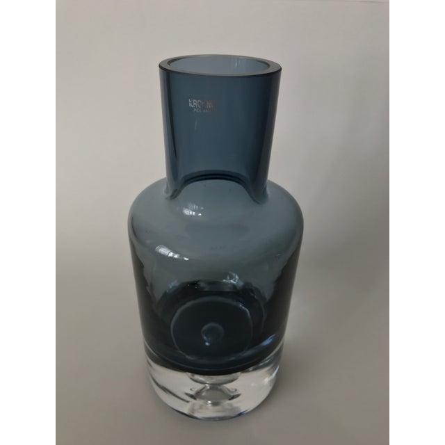 Polish Blue Art Glass Vase - Image 4 of 6