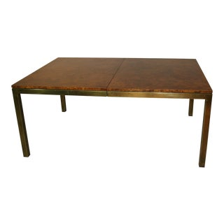 Vintage Tomlinson Burlwood and Brass Dining Table