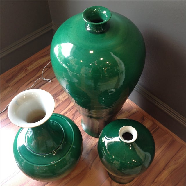 Emerald Green Asian Ceramic Vases - Set of 3 - Image 3 of 7