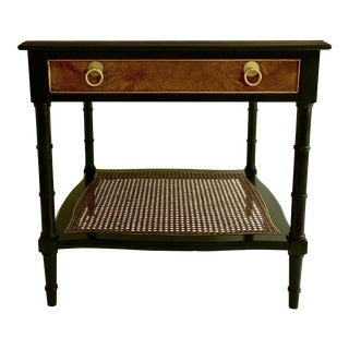 Hekman Burlwood & Cane Side Table