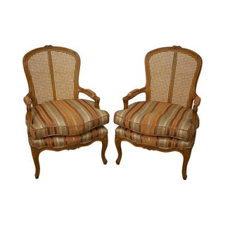 French Louis XV Style Cane Back Fauteuils Chairs - A Pair