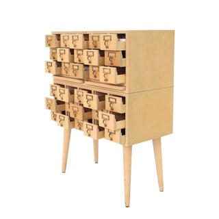 Outstanding Vintage All Wood Index Card File Cabinet