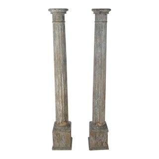 19th C. Original Colonial Carved Wood Pillars - 2