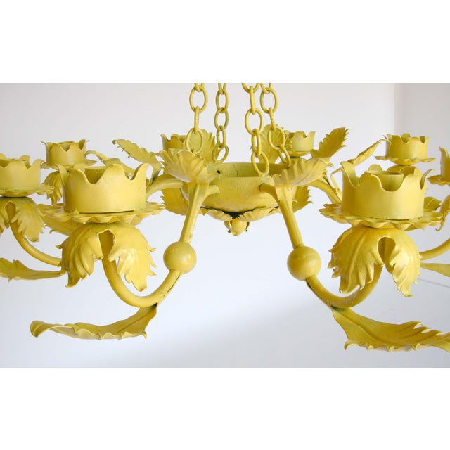 Canary Yellow Wrought Iron Chandelier - Image 5 of 6