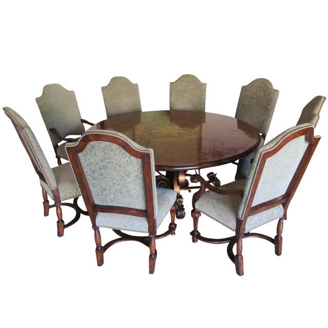 19th C. Walnut & Stellar Parq Nook Table -Set of 9 - Image 1 of 5