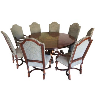 19th C. Walnut & Stellar Parq Nook Table -Set of 9