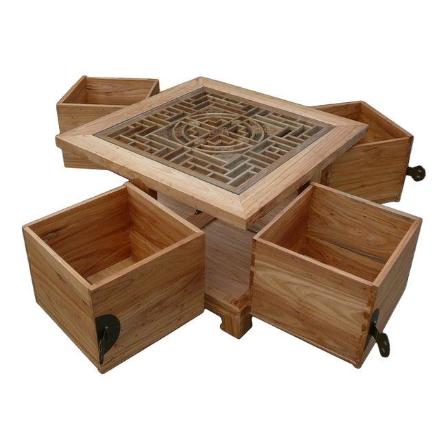 Oriental Glass Top Coffee Table