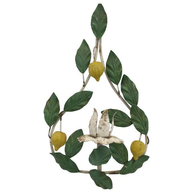 Image of Vintage Italian Tole Lemon Candle Wall Sconce
