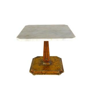 Vintage Marble Top & Brass Filigree Side Table